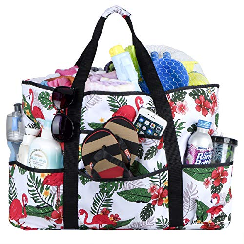 Beach Bag, Extra Large Beach Bags Totes with Zipper Flamingo Pool Bag for Women Oversized Travel Tote Bag With Pockets