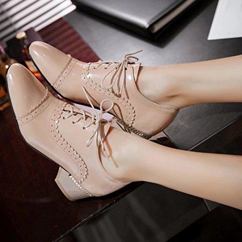 AIYOUMEI Damen Geschlossen Blockabsatz Lace Up Pumps mit Schnürsenkel und 4cm Absatz Herbst Lackleder Einfarbig Schuhe Aprikose