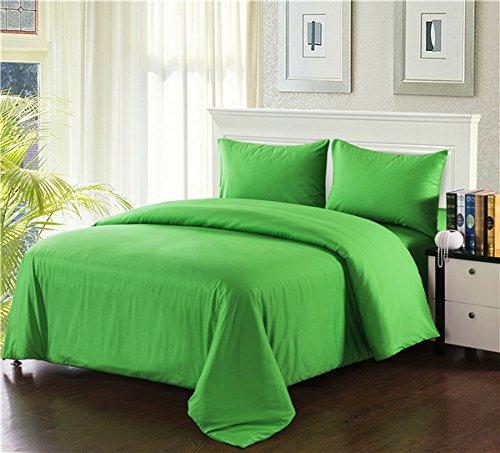 Tache 3 Piece Cotton Solid Lime Green Duvet