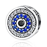 BAMOER 925 Sterling Silver Lucky Blue Evil Eye Charm Bead with Sparkling CZ for Women Girls Gift Fit for Bracelets Necklace
