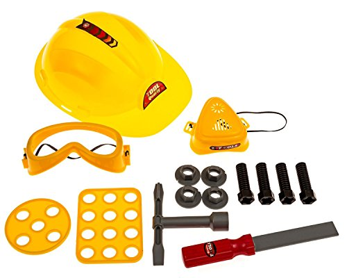 [Construction Worker Toys: Hard Hat + Workshop Repair/Building Toy Tools + Carpenter Dress up/Pretend Play/Role Play Kids Costume] (Tool Belt Costume)