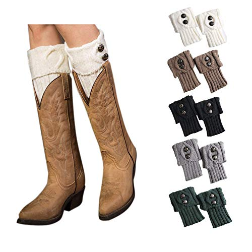5 Pairs Short Boots Socks for Women Crochet Knitted Leg Warmers Toppers Boot Cuffs Socks