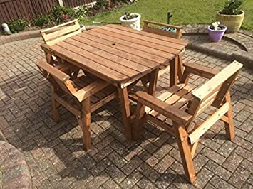 Swell 4 6 Table And 4 Chairs Solid Wooden Garden Furniture Set Super Sturdy Interior Design Ideas Inesswwsoteloinfo