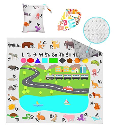 Splat Mat for Under High Chair, 51 Inches, Washable, Waterproof, Portable Floor Mat With Storage Bag and Bandanna Bib, Non Slip, Durable Spill Mat For Feeding, Art, Crafts, Playtime, Picnic