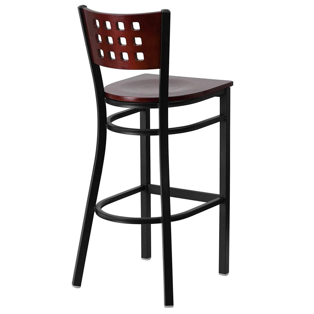 Modern Style Metal Dining Bar Stools Pub Lounge Restaurant Commercial Seats Mahogany Wood Cutout Back Design Black Powder Coated Frame Finish Home Office Furniture - (1) Mahogany Wood Seat #2207 by KLS14 (Image #3)