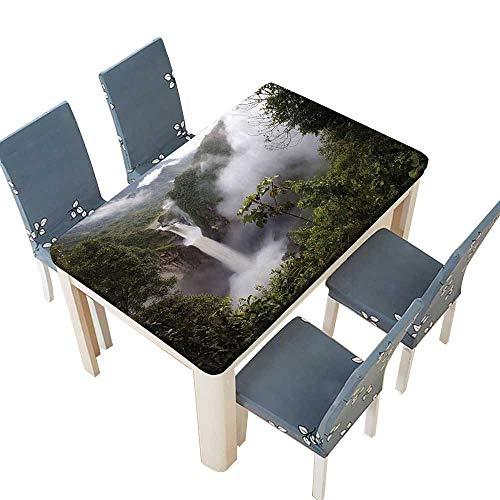 PINAFORE Polyester Tablecloth San Rafael Falls Ecuador Misty Natural Waterfall in Lush Jungle Landmark Scene Green Spillproof Tablecloth W57 x L96.5 INCH (Elastic - Cigar Ecuador