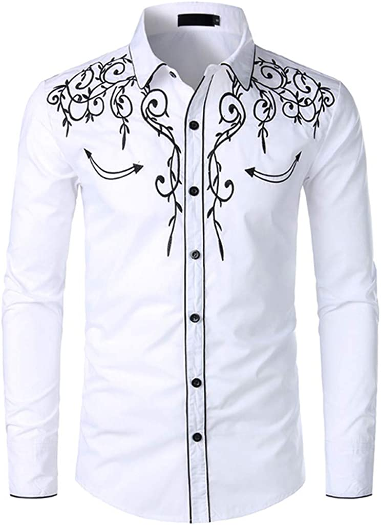 Luxfan Mens Western Cowboy Shirt Long Sleeve Embroidered Button Down Shirt