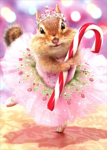 Sugar Plum Fairy Ballet Costume (Chipmunk Plum Fairy - Avanti Premium Christmas Card)