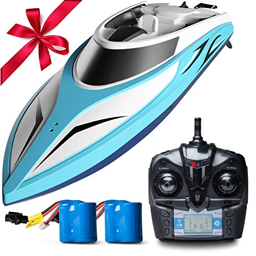(Force1 Remote Control Boats for Pools & Lakes - H102 Velocity Fast RC Boat for Adults & Kids with Self Righting Brushless Speed Boat Remote)