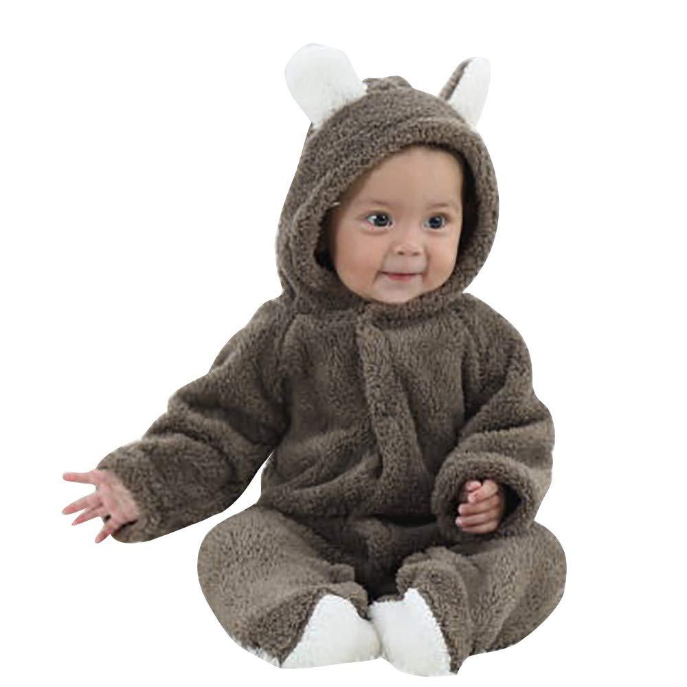 Kobay Universal Baby Romper Baby Boys Girls Long Sleeves Keep Warm Cartoon Hooded Jumpsuit for 0-1Years