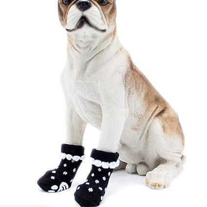 Hemore - 4 Calcetines Antideslizantes para Perros para Suelos de Madera Dura, Protectores para Huellas