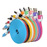 [ 5 Pack ]  Charging Charger Cable Cord For iPhone 5, 5S, 5C, SE, 6, 6S, 6 Plus Fabric Braided USB Lightning Cable Sync And Charging Cable Long Flat Nylon (2M-6FT)
