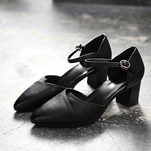 Chaussures Womens Classique Mid Printemps en 5CM EU UK 4 Talon Toe Block Été Travail Black 5 Faible Parti 37 Talons Court Hauts Véritable Pointu Cuir TqT6rw