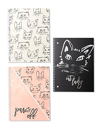 Gartner Studios Set Of 3 Cat Notebooks With Silver Foil, 3 count