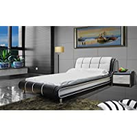 New Arrival: Greatime B1190 Modern Vinyl Platform Bed (Queen, Black&White)