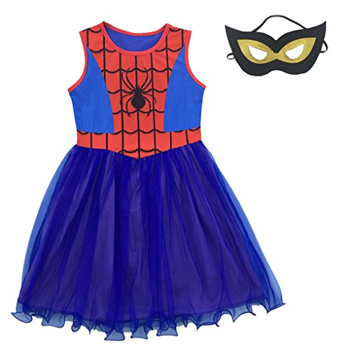 Shiny Toddler Little Girls Spider-Girl Cosplay Dress Up Costume and Mask,Blue,2-3]()
