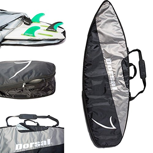 Dorsal Travel Shortboard Surfboard Board Bag 6'8 / Black/Grey por DORSAL