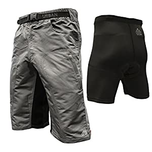 Urban Cycling Apparel The Enduro - Men's MTB Off Road Cycling Shorts With ClickFast Padded Undershorts With Coolmax Technology (2XL, Grey)
