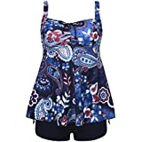 Firpearl Women's Bathing Suit Paisley Print Plus Size Modest Swimwear 2 Piece Tankini Swimsuit