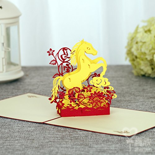 3D Pop Up Cards Creative Paper craft Greeting Cards for Every Occasion (The Chinese Traditional Lucky Horse) (Traditional 60th Anniversary Gift)