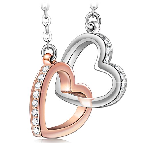 (QIANSE Necklaces for Women Swarovski Crystal Love Heart Pendant Rose Gold White Gold Plated Graduation Birthday Jewelry for Girlfriend Daughter Sister Wife Jewelry Gifts)