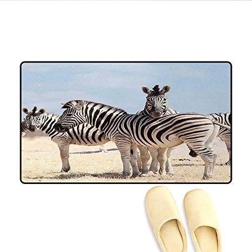 "Bath Mat,Three Zebras in Namibia National Park Africa Savannah Safari Theme,Door Mats for Inside Non Slip Backing,Light Blue Black Beige,Size:20""x32"""