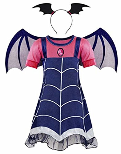 Honeystore Girl's Vampire Cartoon Cosplay Dress Up Costume for Halloween Party Navy and Fuschia Height 51-55in