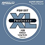 D'Addario PSB125T ProSteels Bass Guitar Single String, Long Scale, .125, Tapered