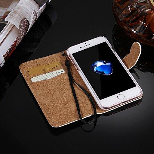 Protege tu iPhone, Fevelove para iPhone 7 Diamond Encrusted Torre patrón horizontal Flip caja de cuero con hebilla magnética y ranuras para tarjetas y correa de mano Para el teléfono celular de Iphone Ip7g4910r