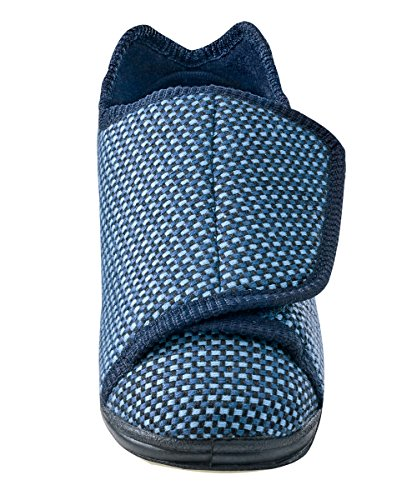Mens Extra Extra Wide Slippers - Swollen Feet - Adjustable Closure - Diabetic & Edema - Blue Tartan...