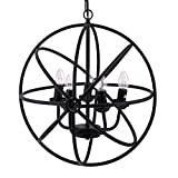 Modrine Industrial Vintage Lighting Ceiling Chandelier 5 Lights 110V Orb Chandelier Antique Black Metal Tube Globe Chandelier (Black)