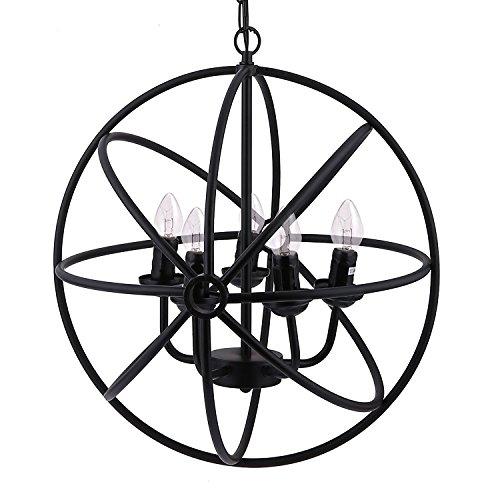 Orb Globe (Modrine Industrial Vintage Lighting Ceiling Chandelier Orb Chandelier Antique Black Metal Tube Globe Chandelier)