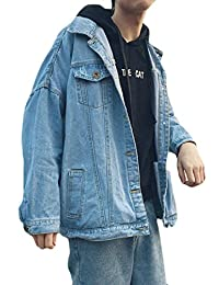 P&E Men's Washed Big and Tall Loose Fit Cowboy Outwear Distressed Denim Jacket