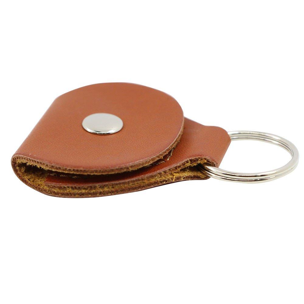 Guitar Picks Holder Case - Leather Keychain Plectrum Key Fob Cases Bag (2 Pack - black,brown) Deedose pick case black-2