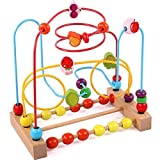 KIDDERY TOYS Bead Maze Educational Toy for Toddlers & Kids Bead Roller Coaster & Number Counting Toy with Bright Colors ASTM Approved Safe Wooden Bead Maze for Boys & Girls Learning Toy,(Medium Size)
