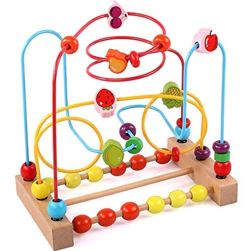 KIDDERY TOYS Bead Maze Educational Toy for Toddlers & Kids Bead Roller Coaster & Number Counting Toy with Bright Colors ASTM Approved Safe Wooden Bead Maze for Boys & Girls ()