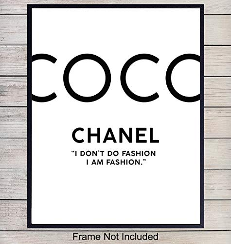 (COCO Chanel Fashion Designer Typography Art Print - Chic Modern Home Decor for Bedroom, Living Room, Bathroom, Office - Perfect Gift for Women, Fashionistas - 8x10 Photo- Unframed)
