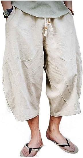 Nicellyer Men Drawstring Chinese Style Summer Harem 3/4 Length Pants Pants