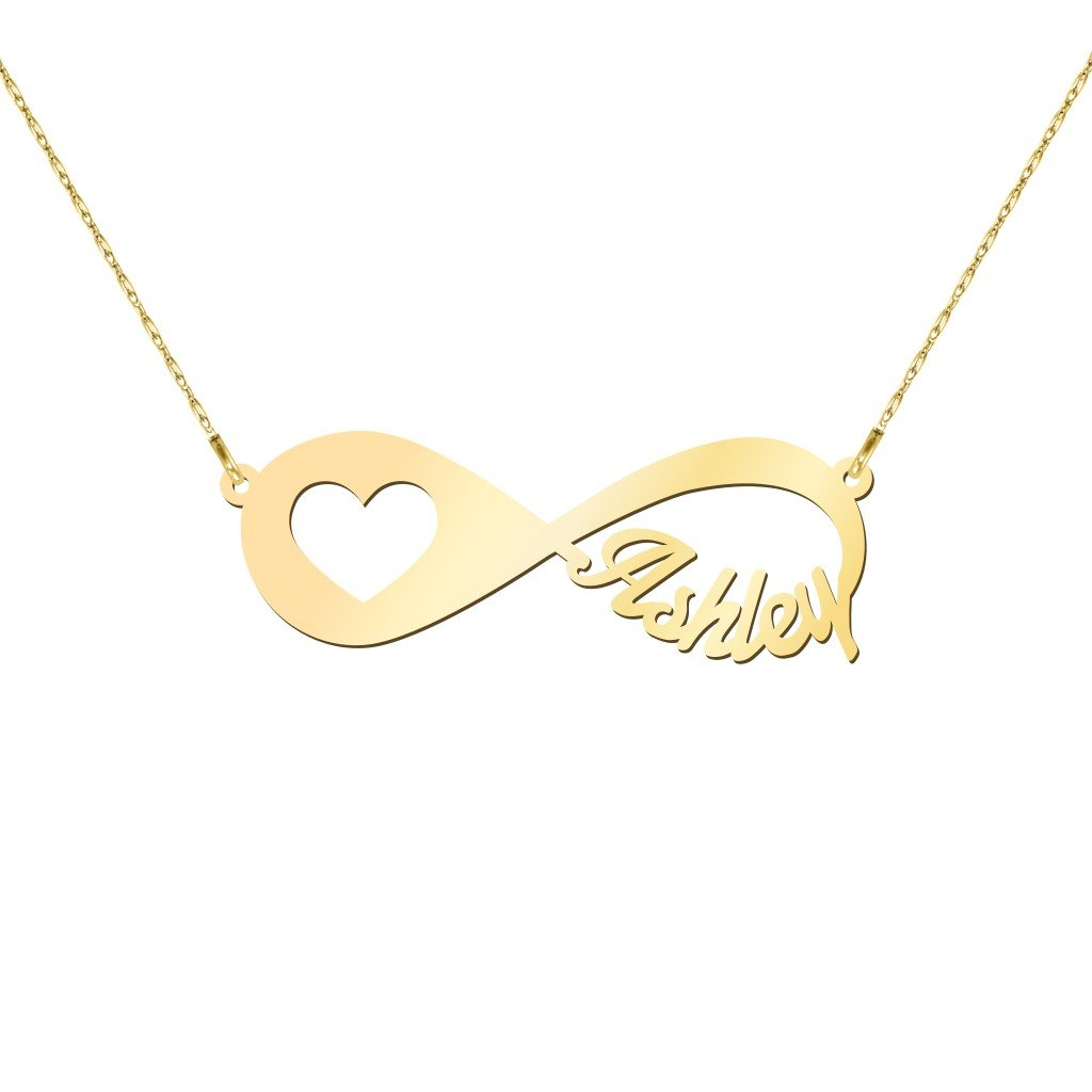 10K Gold In My Heart Personalized Infinity Name Necklace by JEWLR
