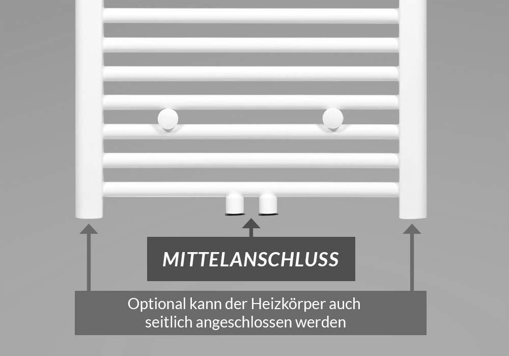Mittelanschluss Badheizk/örper Zimmerheld Heat Basic Farbe: wei/ß Gr/ö/ße: 40x120cm Handtuchtrockner Handtuchw/ärmer