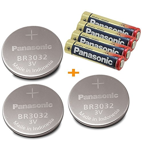Panasonic 3 Pieces - BR3032 , ( BONUS 4-Pieces AAA ) 3V Lithium Coin Cell Battery.