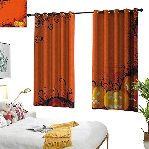 Warm Family Curtain Spider Web,Three Halloween Pumpkins Abstract Black Web Pattern Trick or Treat, Orange Marigold Black 72