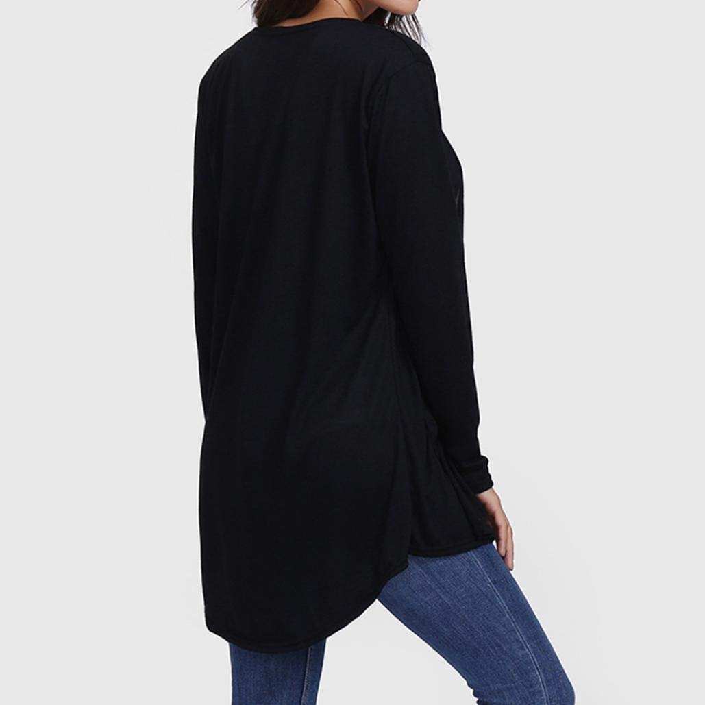 Realdo Womens Cardigan Loose Casual Long Sleeved Open Front Breathable with Pocket Smock