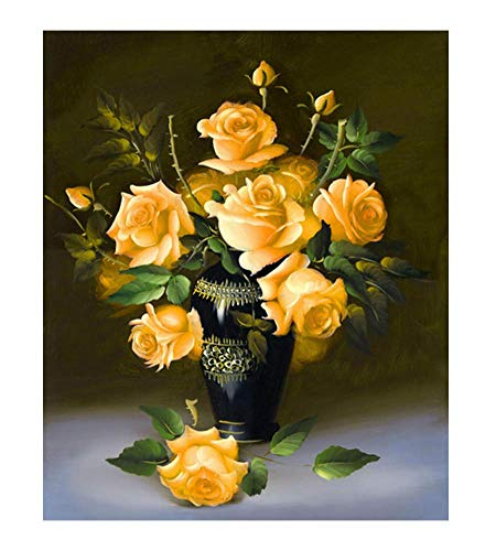 YEESAM ART New 5D Diamond Painting Kit - Yellow Rose Flowers - DIY Crystals Diamond Rhinestone Painting Pasted Paint by Number Kits Cross Stitch Embroidery (Yellow)