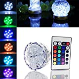 Szyoumy 10 LED RGB Submersible Light Waterproof Wedding Party Vase Lamp +Remote Control Fast Epacket Delivery