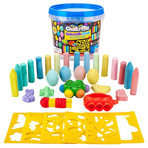 Walk Chalk - Creative Kids Premium Sidewalk Chalk Art Play Set - Bucket Bundle of Chalk & Educational Game Accessories for Boys & Girls - Includes 30 Pieces of Chalk, 1 Bucket, 3 Chalk Holders, 5 Stencils