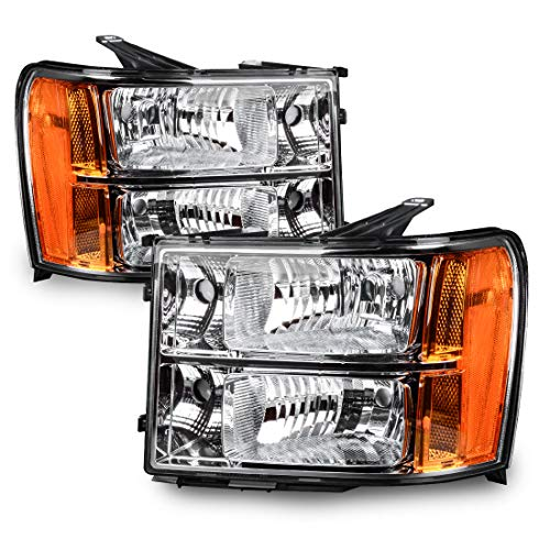 Headlights Replacement for 2007-2013 GMC Sierra 1500/2007-2014 Sierra 2500HD 3500 HD Headlamp Assembly Chrome Housing Amber Reflector Clear Lens, Passenger and Driver Side