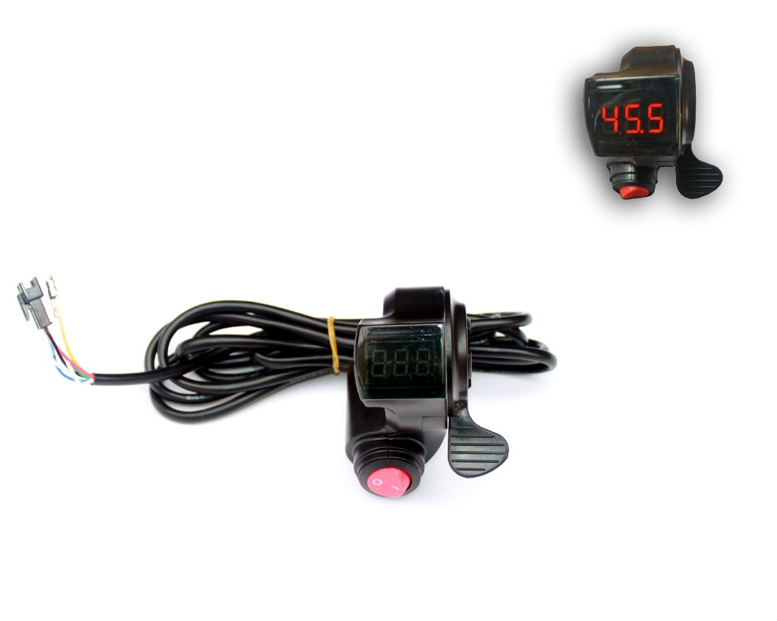 Bike Controller Key Lock Switch Display Battery Voltage Number Scooter Battery Indicator And Thumb Accelerator (Button and throttle)