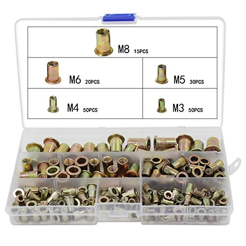 OCR Zinc Plated Carbon Steel Rivet Nut Flat Head Threaded Rivet Nutsert Cap Assortment M3 M4 M5 M6 M8 165PCS (Differnt Nuts)