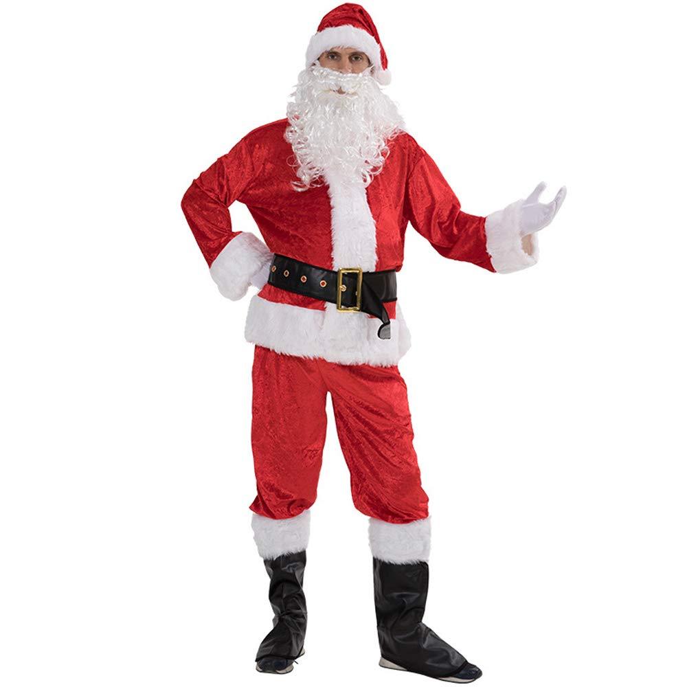 Trajes De Papá Noel 7 Piezas Disfraces De Navidad Conjunto para Adulto Navideños Cosplay Ropa Rojo para La Altura 175-190Cm Invierno Cálidos Disfraces De Fiesta
